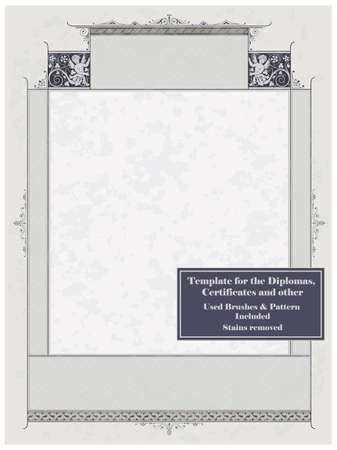 Vintage frame, certificate or diploma template. Used brushes and pattern included.  Stock Vector - 8987127