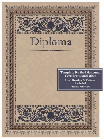 valuables: Vintage frame, certificate or diploma template. Used brushes and pattern included.
