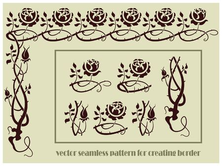 set of plant elements for design, creating borders, frames and backgrounds Vector