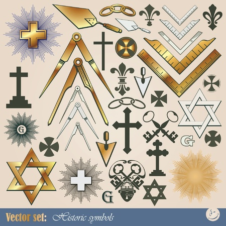 Big vector set: historical and religious symbols Stock Vector - 8987121