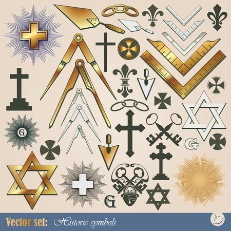 simbolos religiosos: Conjunto de grandes vectores: s�mbolos hist�ricos y religiosos Vectores