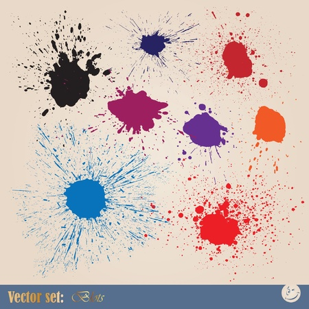 paints: Vector set editable ink spills, stains and splashes Illustration