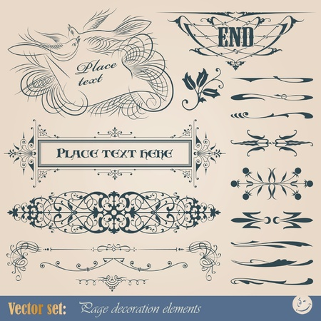 flourish: Vector set: calligraphic design elements and page decoration Illustration