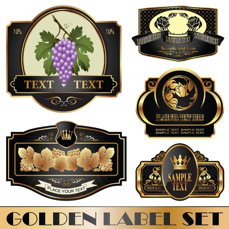 gold-framed labels on different topics Vector