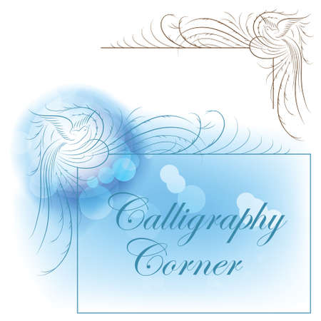 calligraphic corner birds paradise for decoration and design Stock Vector - 9347582