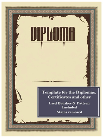 Vintage frame, certificate or diploma template. Used brushes and pattern included. Stock Vector - 9347599