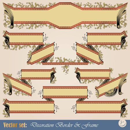 Vector set: Border ribbon for decoration and design Stock Vector - 9450865
