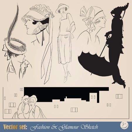 retro model: vector set: elegant vintage fashion illustrations, sketch and portraits