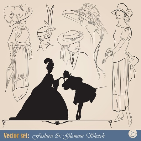 vector set: elegant vintage fashion illustrations, sketch and portraits  Vector