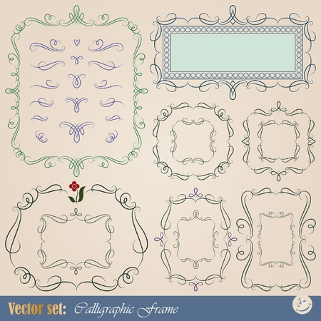 set: calligraphic design elements for frame and page decoration Vector