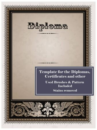Vintage frame, certificate or diploma template. Used brushes and pattern included. Stock Vector - 9609083