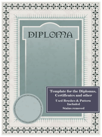Vintage frame, certificate or diploma template. Used brushes and pattern included. Stock Vector - 9609079