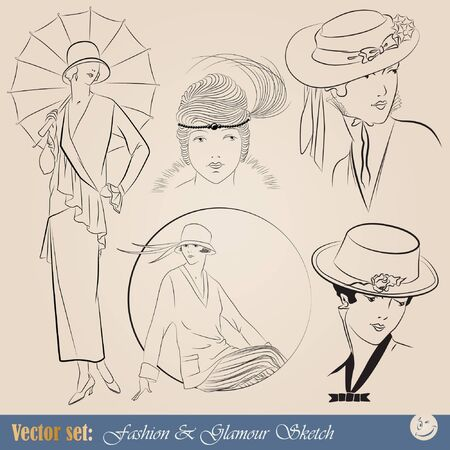 set: elegant vintage fashion illustrations and sketch Ilustração