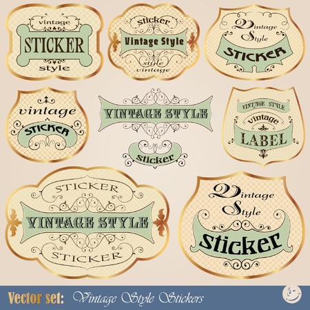 set: Luxury golden vintage stickers or label in calligraphic style for decoration and design Vector