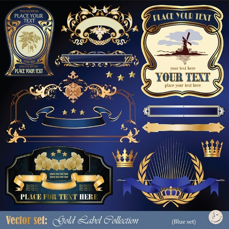 gold-framed labels, ribbon, ornaments and elements on different topics for decoration and design