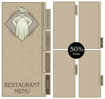 Template restaurant menu in vintage style  Vector
