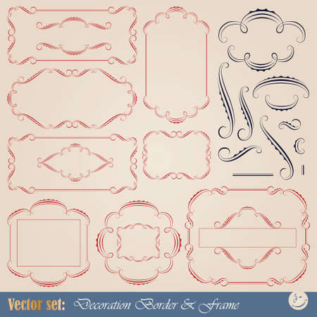 calligraphic elements and frame for design and page decoration Vector