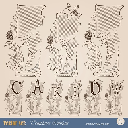 Template capitals and initials in the old style for decoration and design Vector