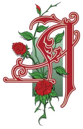 capitales y las iniciales en el viejo estilo de decoración y diseño