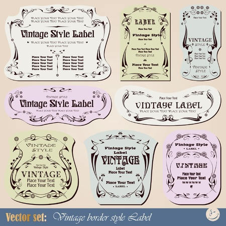 Vintage style labels on different topics for decoration and design Vector