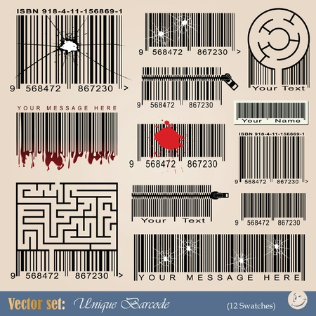 set: unique abstract barcodes for tattoo and design