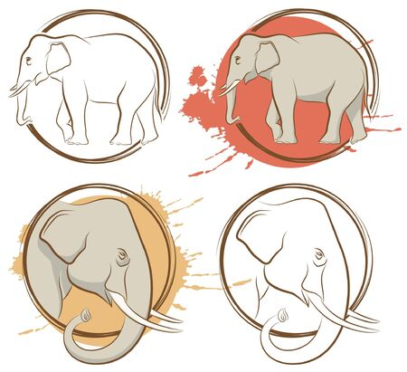 set of abstract drawing animal. Elephant Vector
