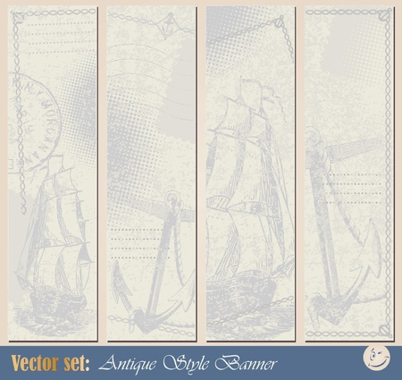 navy blue background: Grunge nautical banner for decoration and design Illustration