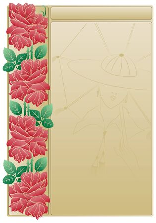 artnouveau: Abstract backgrounds from the bound plants in style art-nouveau