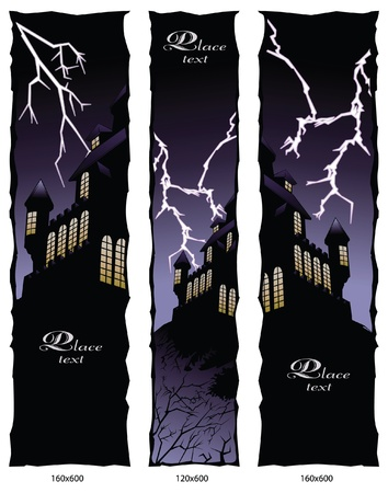 Banner an halloween style. Lightning over the house. Vector