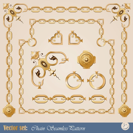 set of chain elements for creating borders and frames Stock Vector - 10559882