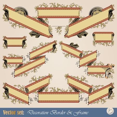 Vector set: Border ribbon for decoration and design Stock Vector - 10810204