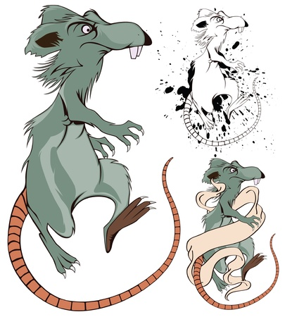 Vector funny Cartoon Rat for decoration and design
