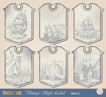 Grunge nautical label for decoration and design