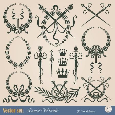 escudo de armas: Conjunto de coronas de laurel para decoraci�n y dise�o