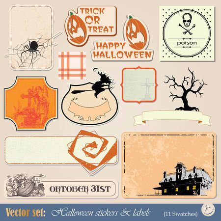 abbildung: collection of labels and stickers to prepare for the holiday Halloween Illustration