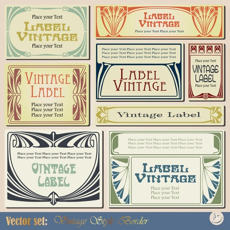 stile liberty: etichette in stile vintage su argomenti diversi per la decorazione e il design