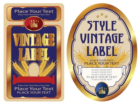 gold-framed labels on different topics for decoration and design Vector