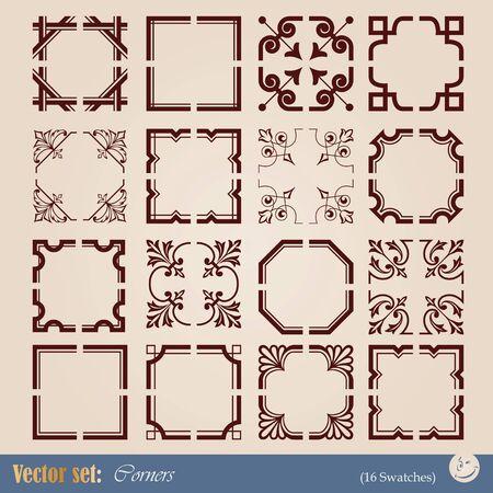 esquinas de elementos para el diseño y la decoración