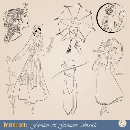 vintage clothing: elegant vintage fashion illustrations, sketch and portraits  Illustration