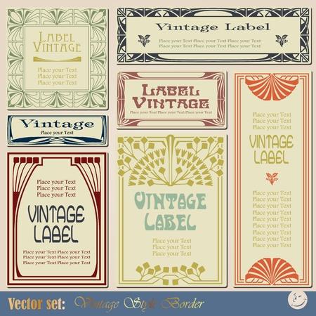 stile liberty: etichette stile vintage su diversi argomenti per la decorazione e il design