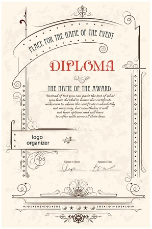 Vintage frame, certificate or diploma template Stock Vector - 11142670
