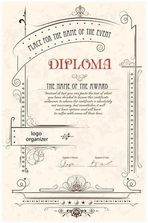 Vintage frame, certificate or diploma template Illustration