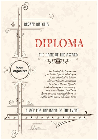 Vintage frame, certificate or diploma template Stock Vector - 11142669