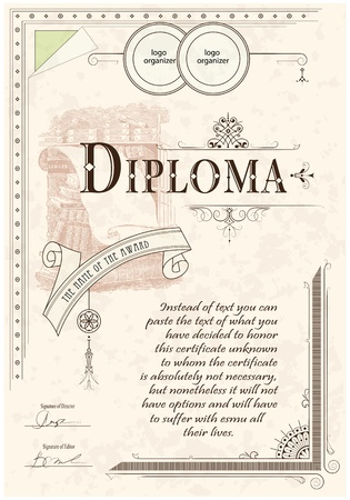 Vintage frame, certificate or diploma template Çizim