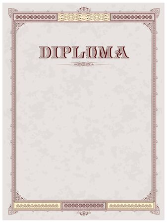 Vintage frame, certificate or diploma template Stock Vector - 11530426