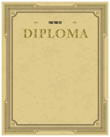 Vintage frame, certificate or diploma template Vector
