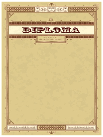 Vintage frame, certificate or diploma template Stock Vector - 11530425