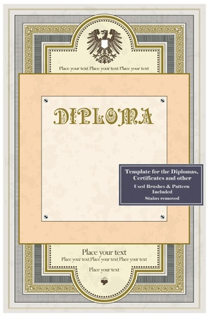 Vintage frame, certificate or diploma template Stock Vector - 11530427