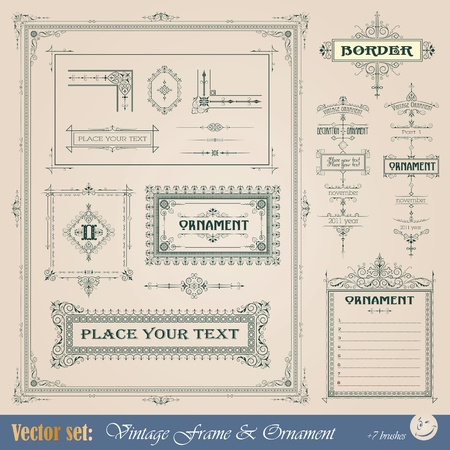page decoration: Vintage frame, ornament and element for decoration and design