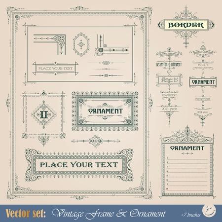 Vintage frame, ornament and element for decoration and design